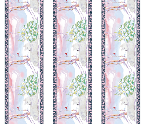 samoyed and cardinal winter scene border fabric by dogdaze_ on Spoonflower - custom fabric