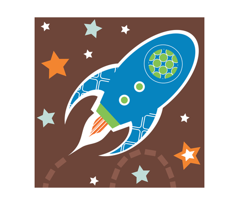 Out of This World Rocket  fabric by jenniferfranklin on Spoonflower - custom fabric