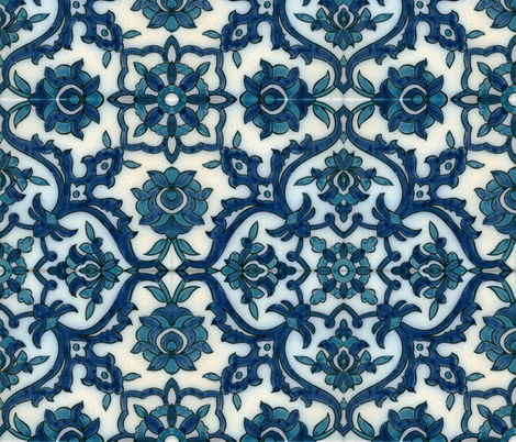 DamascusBlueTile fabric by flyingfish on Spoonflower - custom fabric