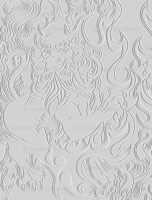 Flaming Foo Dog faux embossed fabric
