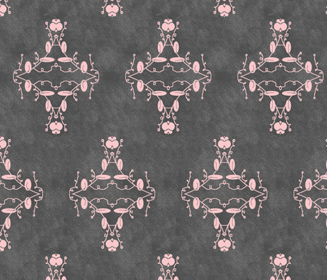 Gray and Pink Grunge Damask fabric by captiveinflorida on Spoonflower - custom fabric