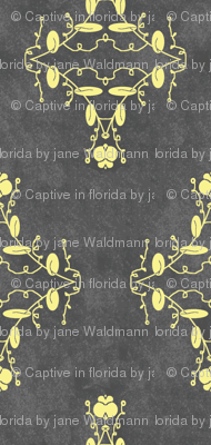 Gray and Yellow Grunge Damask