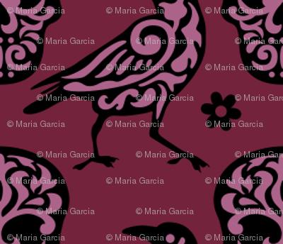 Skull Raven Damask in Burgundy + Pink Small