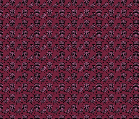 Skull Raven Damask in Burgundy + Pink Small fabric by mariafaithgarcia on Spoonflower - custom fabric