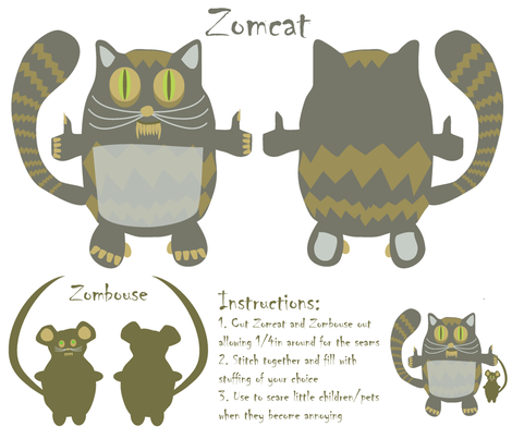 Zomcat fabric by kociara on Spoonflower - custom fabric