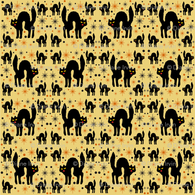 Black Cats with Starbursts & Straw Background