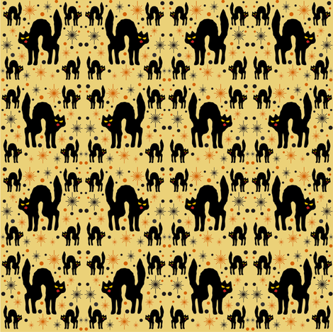 Black Cats with Starbursts & Straw Background fabric by 3catsgraphics on Spoonflower - custom fabric