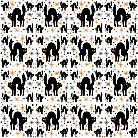 Retro Style Black Cats with Starbursts & White Background fabric by 3catsgraphics on Spoonflower - custom fabric