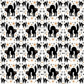 Retro Style Black Cats with Starbursts & White Background