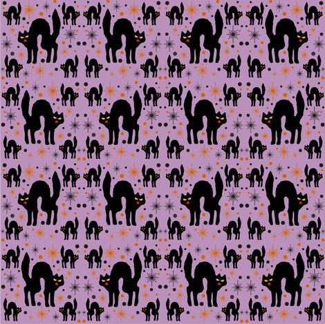 Retro Style Black Cats with Starbursts & Purple Background fabric by 3catsgraphics on Spoonflower - custom fabric