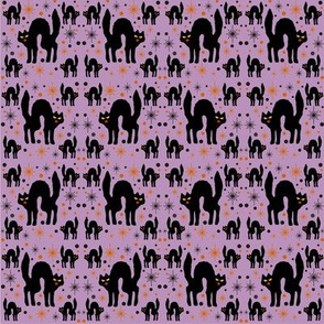 Retro Style Black Cats with Starbursts & Purple Background