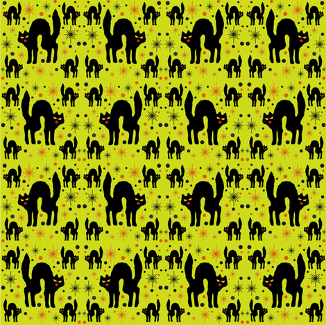 Retro Style Black Cats with Starbursts & Lime Background fabric by 3catsgraphics on Spoonflower - custom fabric