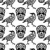 Skull Raven Damask