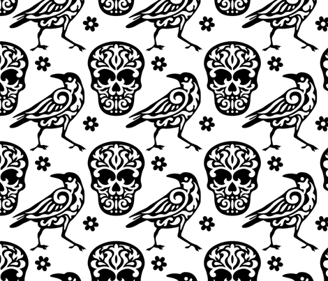 Skull Raven Flower Damask fabric by mariafaithgarcia on Spoonflower - custom fabric