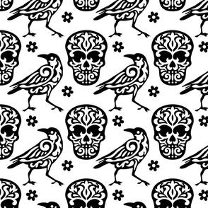 Skull Raven Flower Damask