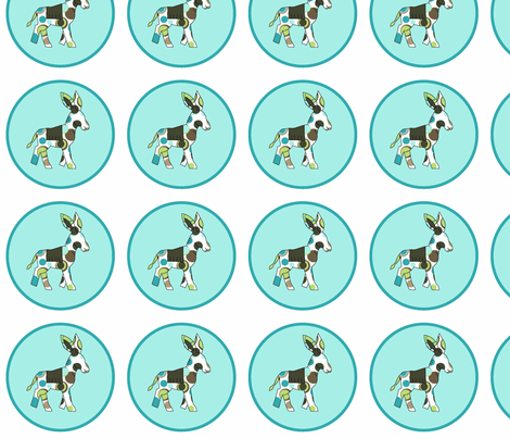 Animal Trails Donkey Decal Blue fabric by designedtoat on Spoonflower - custom fabric