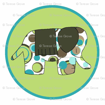 Animal Trails Elephant Decal Lime