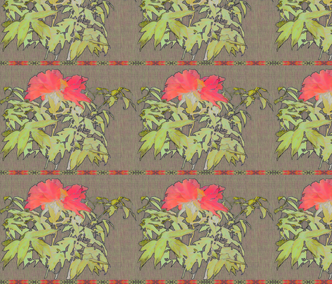 Coral Peony with linen background and horiz ribbon fabric by wren_leyland on Spoonflower - custom fabric