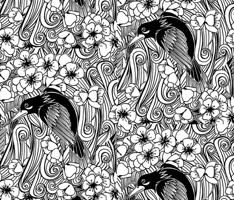 Blackbird fabric by whimzwhirled on Spoonflower - custom fabric