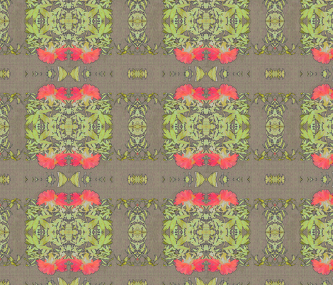 peony-coral-fibers mirrored fabric by wren_leyland on Spoonflower - custom fabric
