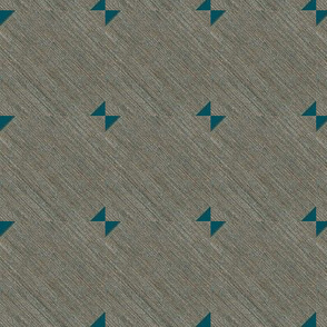 Bow Tie - mid century modern look -  rich layers of grey are the backdrop for a teal bow tie pattern