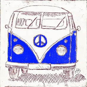 Campervan - Large Wall Decal, Fabric, Wallpaper_blue