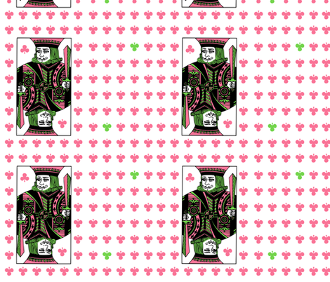 king of clubs - pink green fabric by gingerme on Spoonflower - custom fabric