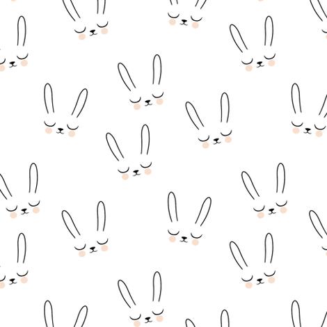 Sleepy Bunny (small) fabric by kimsa on Spoonflower - custom fabric
