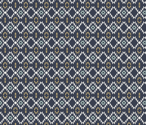 Navajo - Dark Blue  Mint Gold (vertical) fabric by kimsa on Spoonflower - custom fabric