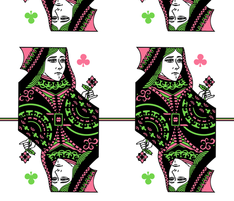 queen of clubs - pink green fabric by gingerme on Spoonflower - custom fabric
