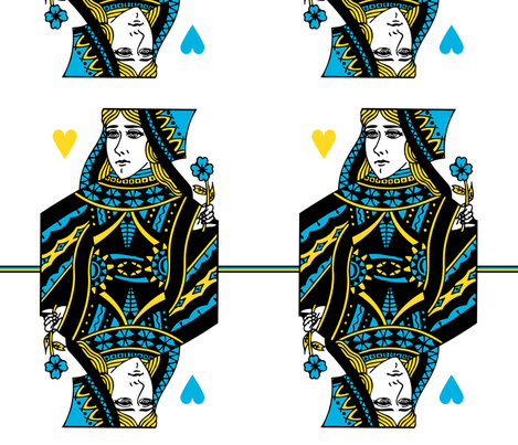 queen of hearts - blue yellow fabric by gingerme on Spoonflower - custom fabric