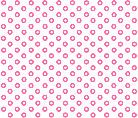 Pink Noughts on White fabric by little_fish on Spoonflower - custom fabric