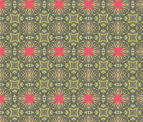 Peony Coordinates in Mushroom, Coral and Green  fabric by wren_leyland on Spoonflower - custom fabric