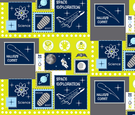Up in Space / be-my-hero fabric by paragonstudios on Spoonflower - custom fabric