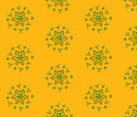 green flower with swirls fabric by dnbmama on Spoonflower - custom fabric