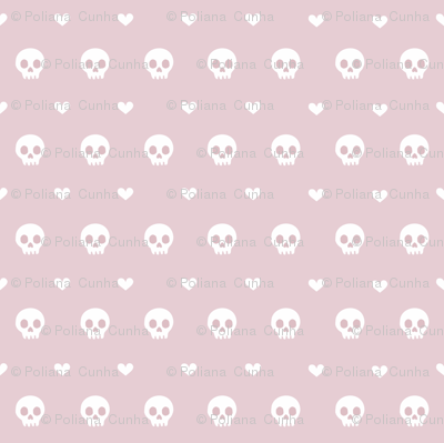 simple skull and heart repeat nude