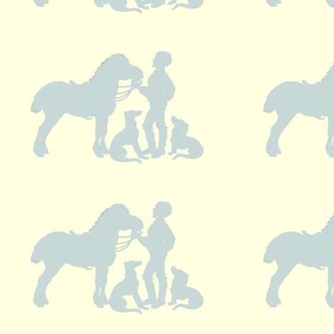 silhouetteboyponylightslate-ch fabric by ragan on Spoonflower - custom fabric