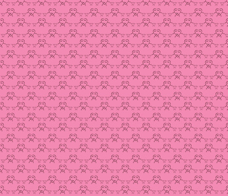Pink Happy Heart Twins fabric by olumna on Spoonflower - custom fabric