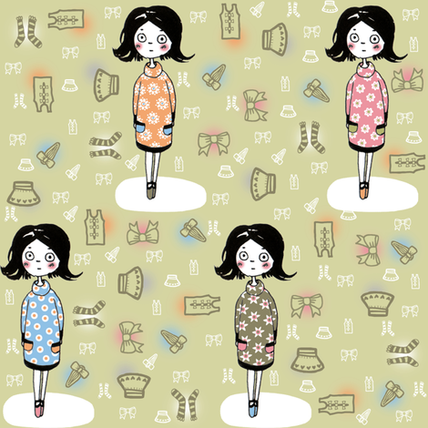 60s Fashion Girls fabric by emilykariya on Spoonflower - custom fabric