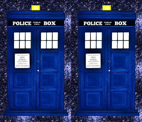 Doctor Who Inspired TARDIS, Police Box on a Galaxy Background