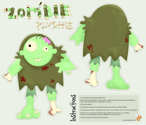 Zombie Plushie fabric by jenniferdenty on Spoonflower - custom fabric