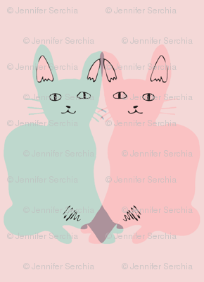 WALLPAPER/FABRIC: love cats (mint & pink on pink)