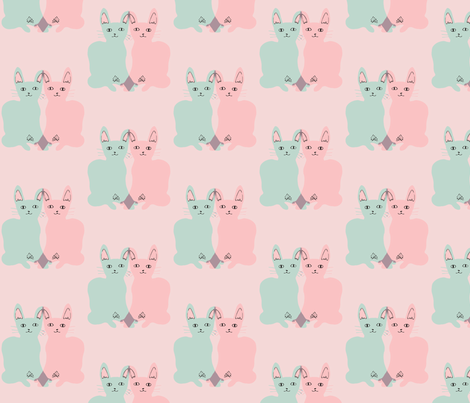 WALLPAPER/FABRIC: love cats (mint & pink on pink) fabric by hotdogjenny on Spoonflower - custom fabric