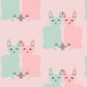 WALLPAPER/FABRIC: love cats (mint &amp; pink on pink)