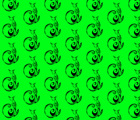 Inkblot Cat on Green fabric by art_rat on Spoonflower - custom fabric