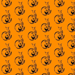 Inkblot Cat on Orange