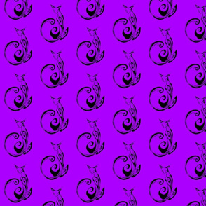 Inkblot Cat on Purple