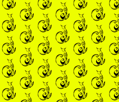 Inkblot Cat on Yellow fabric by art_rat on Spoonflower - custom fabric