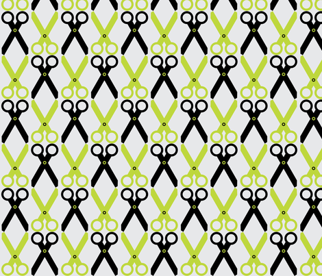 Black/Lime Scissors fabric by audreyclayton on Spoonflower - custom fabric