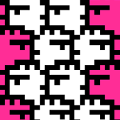 Suspicious Robotics (White on Pink, Small Pattern)